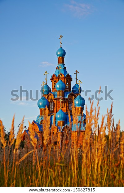 Transfiguration Church in Star City. Moscow region. Summer sunny day. Selective focus
