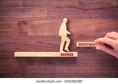 Transform savings to investment concept. Business and financial person motivate conservative investor to do step to change savings to investment to growth of capital and asset.