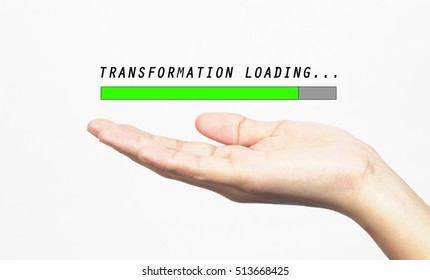 Transformation loading progress bar with hand, isolated on white background.