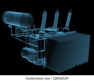 Transformator substation (3D x-ray blue transparent isolated on black)