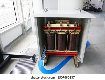 Transformer with electric motor coil, in modern production room