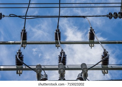 Transformer equipment on the power pole on a white background