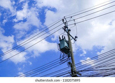 Transformer on high power station. High voltage, Power distribution on concrete pole with 22 kilo-volts, Bus Bar and Fittings.