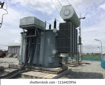 Transformer in the power station.