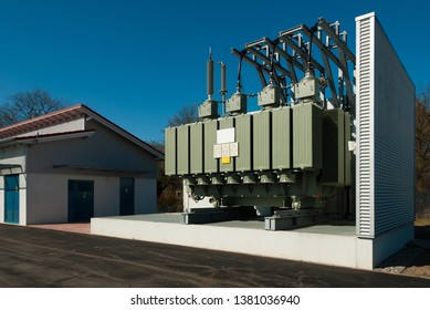 a transformer station supplies an urban district with electricity