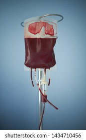 transfusion of blood, bag with red blood cells on stand. Blue background