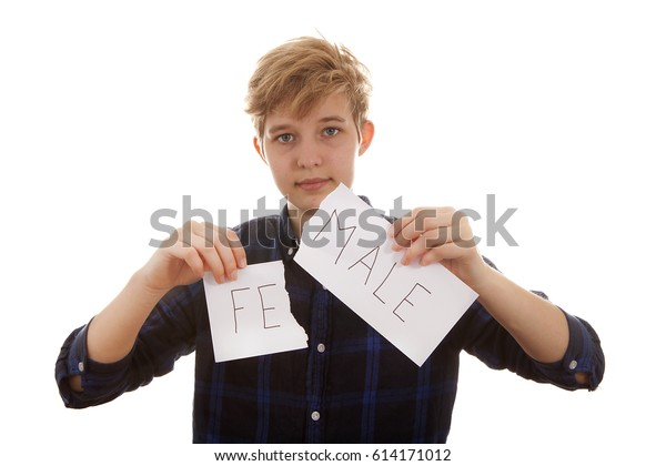 Transgender boy is tearingfemale to male paper over white background