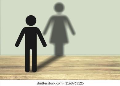 Transgender concept, silhouette human on desk
