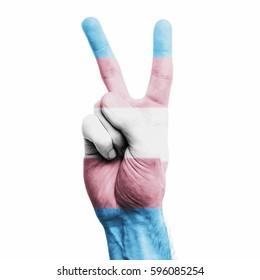 Transgender gender flag painted onto a male hand showing a V peace sign