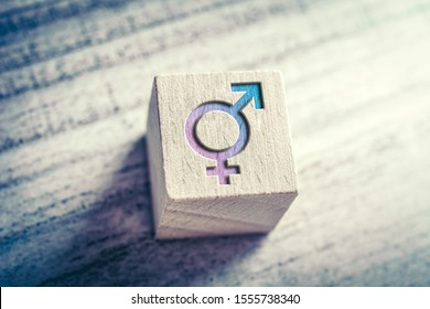 Transgender, LGBT or Intersex Icon With Combined Male And Female Sign On A Wodden Block On A Table