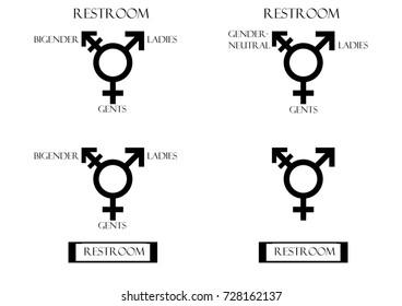 Transgender Male. Set Of Symbols. Isolated On White Background. Unisex. Stylized Set of gender symbols icon . Male, female and unisex / transgender / bigender. Illustration. Icon Silhouettes.