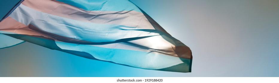 una bandera de orgullo transgénero ondea en el cielo azul, movido por el viento, con el sol en el fondo, en un formato panorámico para usar como banner web o cabecera