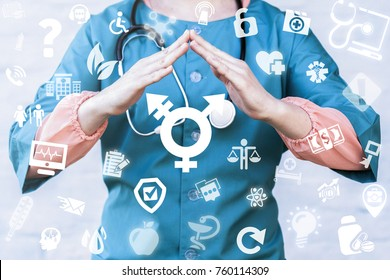 Transgender Safety Medicine concept. Medical Ethics, Tolerance. Doctor holds roof hands over transgender (combining gender) symbol on a virtual digital screen interface.