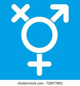 Transgender sign icon white isolated on blue background  illustration