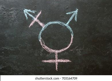 Transgender symbol on a black background close-up