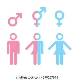 Transgender transsexual concept. Icon of different gender persons with male female marker. illustration on white background.