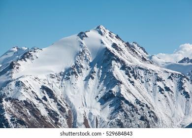 Trans-Ili Alatau mountains. On the way to Big Almaty peak. Views of the Sovetov peak.