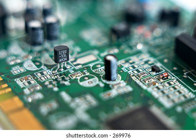 Transistor in a circuit board with a shallow depth of field