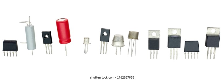 transistors different type and other radio components on a white background