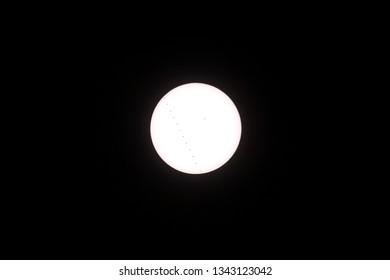 transit of mercury across the sun, with sunspots, full transit