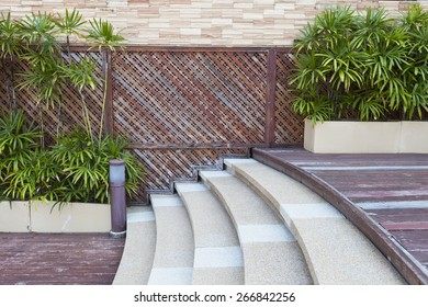 transition stair between different level wood floors and green decorative plants wall background design
