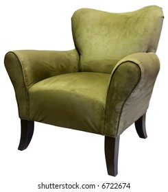 Transitional Style Occasional Accent Chair in Sage Tone with Dark Maple Legs