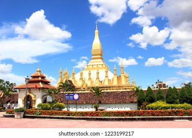 Translation: the famous Pha Tat Luang of Vientiane, one of the landmarks of the city. Taken in Laos, July 2015.