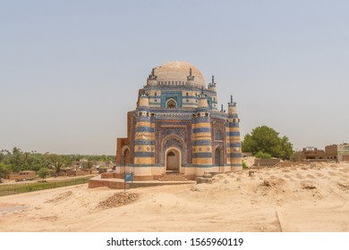 "TRANSLATION: ""Jawindi Bibi Tomb"". Uch Sharif Jawindi Bibi Tomb Breathtaking Picturesque View on a Sunny Blue Sky Day"