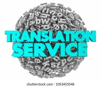 Translation Service Letter Sphere Translated Words 3d Illustration