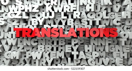 TRANSLATIONS -  Red text on typography background - 3D rendered royalty free stock image. This image can be used for an online website banner ad or a print postcard.