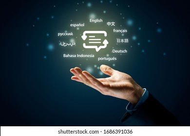 Translator professional and languages education concepts. Hand with symbol of translation (speech bubble with arrows and abstract text) and globally important languages.