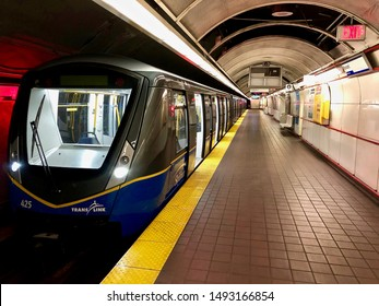 Translink skytrain at Burrard station.  Mark 3 train. Vancouver, BC/Canada/August 19th 2019