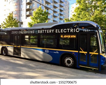 Translink using BYD Battery Electric bus in a 3 month trial. Bus is on the 41 Joyce station route. Vancouver, BC/Canada July 17th 2017