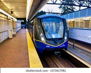 Translink Vancouver SkyTrain.  A Bombardier Innovia Metro 300 train arriving at Nanaimo Skytrain station.  Vancouver/BC/Canada/April 14 2019