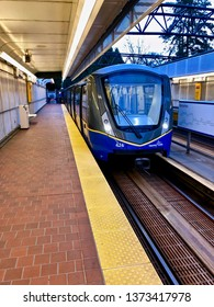 Translink's Vancouver SkyTrain.  A Bombardier Innovia Metro 300 train arriving at Nanaimo Skytrain station.  Vancouver/BC/Canada/April 14 2019