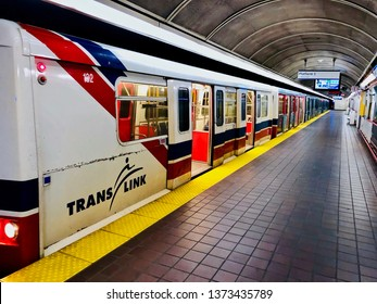 Translink's Vancouver SkyTrain.  Train waits with it's doors open at Granville Skytrain station.  Vancouver/BC/Canada/April 15 2019