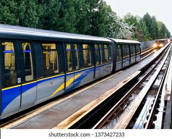 Translink's Vancouver SkyTrain.  Trains lined up at Nanaimo Skytrain station.  Vancouver/BC/Canada/April 14 2019