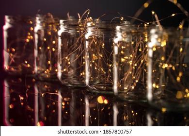 Translucid jars with stringlights inside