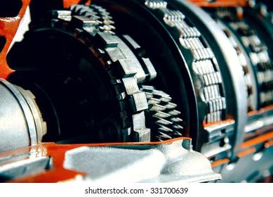 Transmission car. Parts of transmission close up