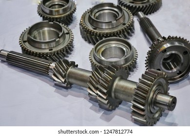 Transmission gear metal wheels, isolated on white background