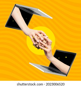 Transmission of information, computational process. Image of female hands sticking out of laptop screens on bright orange background. Concept of IT, computer technologies, programming.