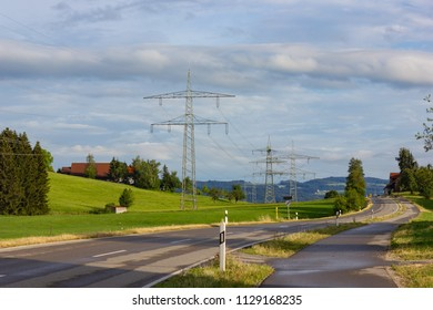 transmission line in bavaria south germany rural countryside in summer