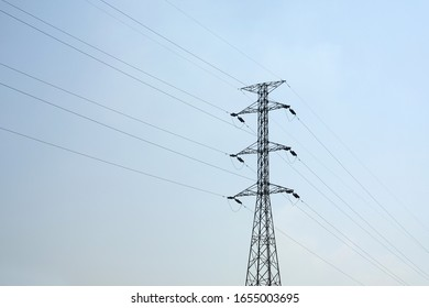 Transmission line on the hot day.