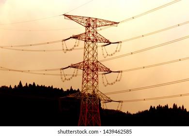 Transmission line tower in Japan