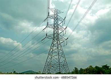 Transmission line tower on Cloud