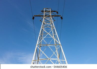 Transmission Tower Against Blue Sky