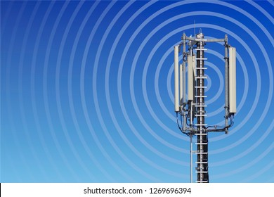 transmission tower with radio waves