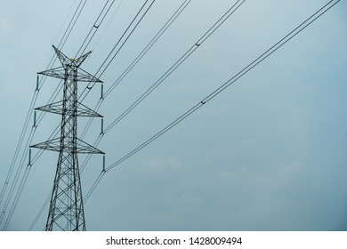 Transmission tower in rainy day, Transmission tower with cloudy sky background.