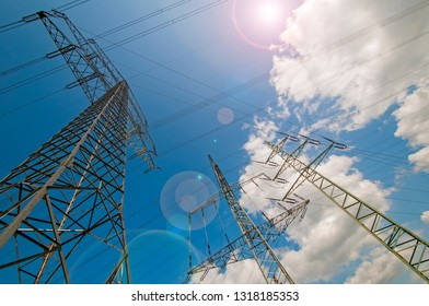 Transmission tower and sky