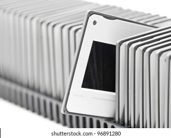 Transparency slides in projector tray